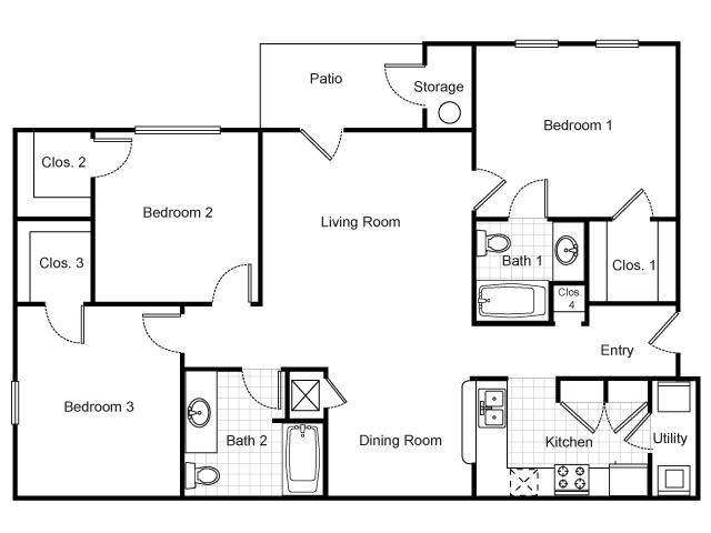 Three Bedroom, Two Bathroom, Floor Plan