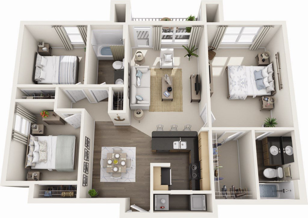 The Tropic Floor Plan at Harbour Breeze Apartments