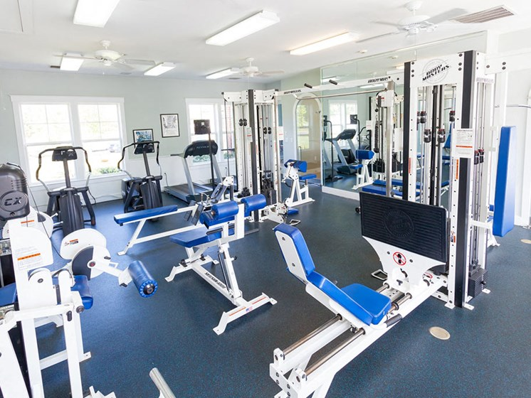 Inside the fitness center at Harbour Breeze Apartments