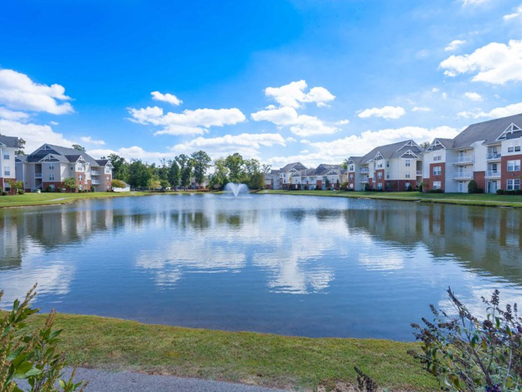 stocked fishing lake at the heart of Harbour Breeze Apartment complex