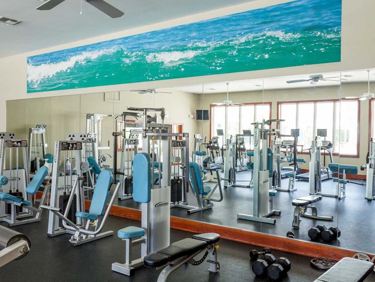 interior fitness center with resistance machines and free weights
