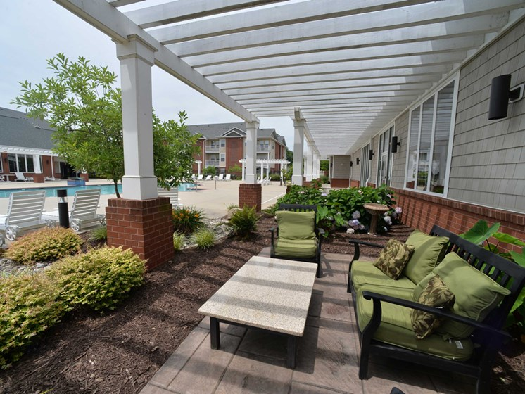 Outdoor seating near the pool in petersburg virginia