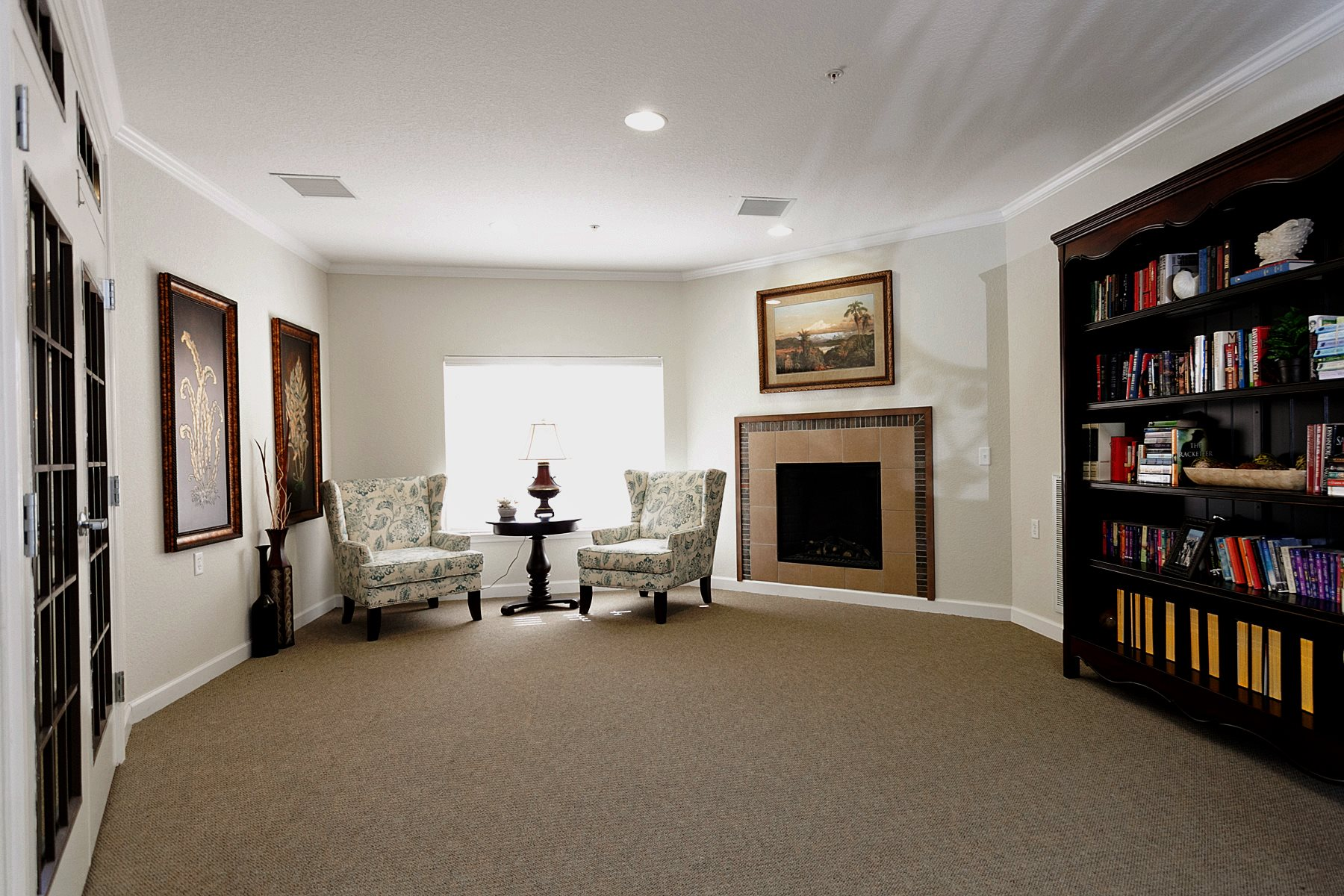 library, fireplace, quiet room