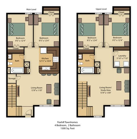 Foxhill Townhome 1500 Sq Ft Floor Plan 1