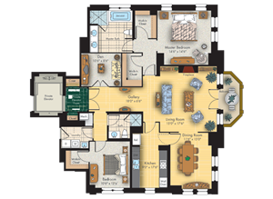 1 bed 2 bath floorplan