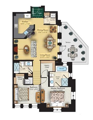 2 bed 2 bath floorplan