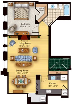 1 bed 1 bath floorplan