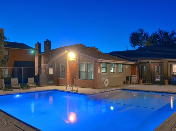Sparkling Pool at Night | Apartment Homes in Dallas, TX | Deerfield Apartments