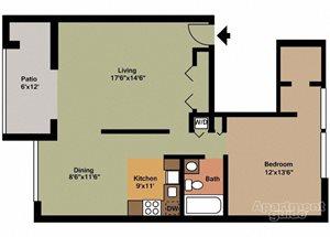 Style A - First Floor 1 Bedroom 1 Bath