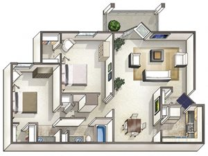 2 Bed 1 Bath Layout at Flagler Pointe Apartments in St Petersburg, FL