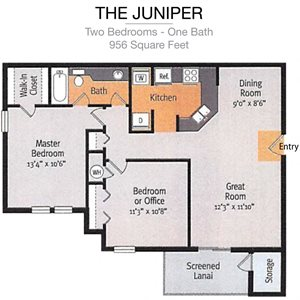 The Juniper Two Bedrooms-One Bath