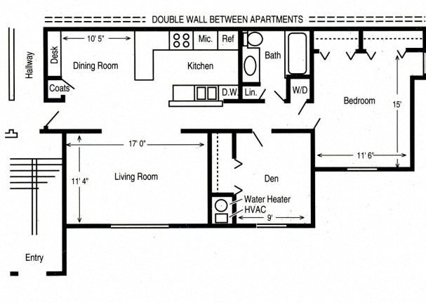 2 Bed/1 Bath Garden Floor Plan 1