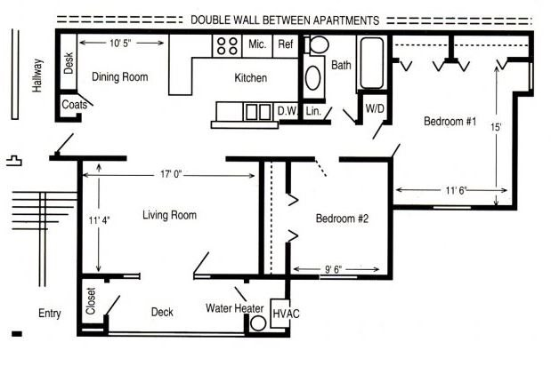 2 Bed/1 Bath Balcony Floor Plan 2