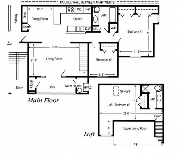 3 Bed/ 1.75 Bath Loft & Balcony Floor Plan 3