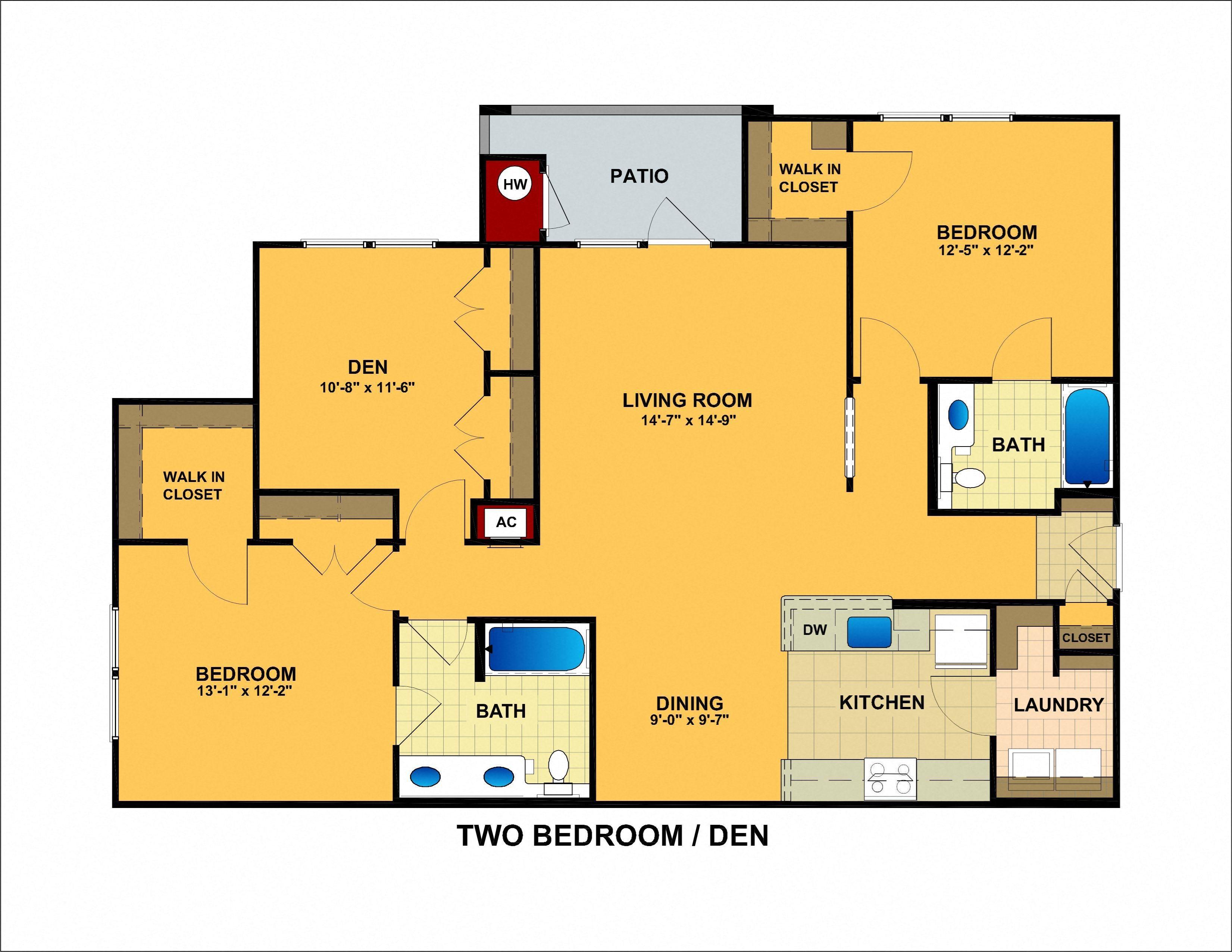 Two Bedroom With Den Floor Plan 5