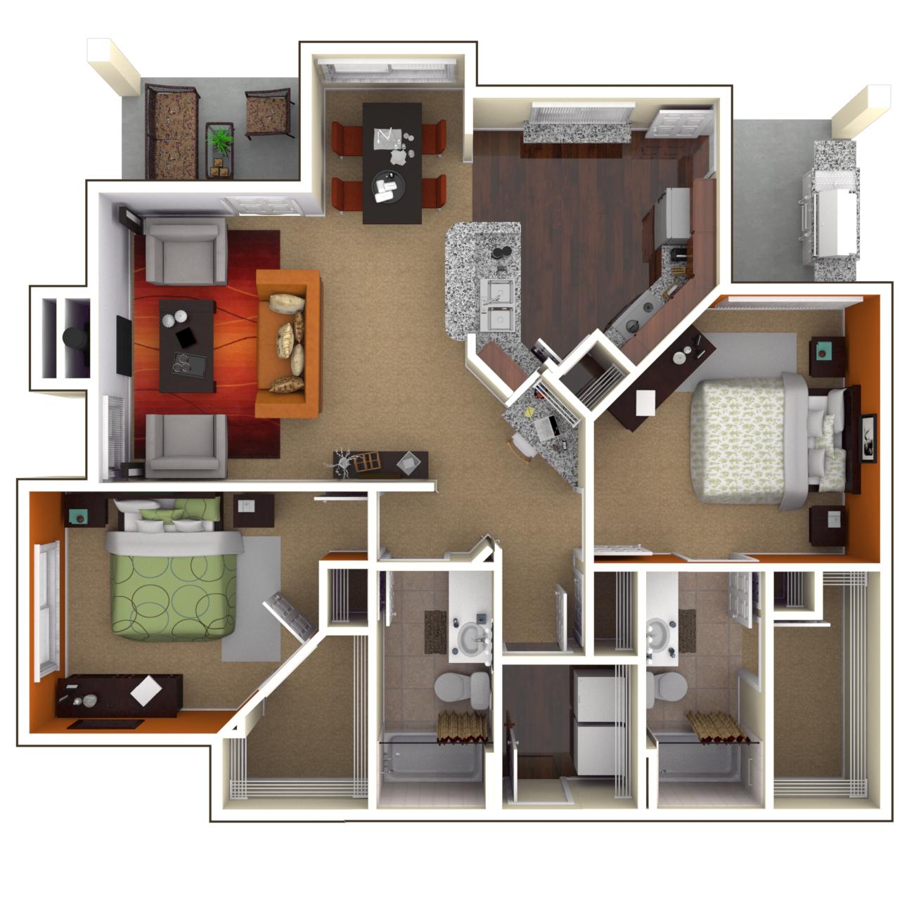 OFallon IL Luxury Apartments - Parkway Lakeside Floor Plans