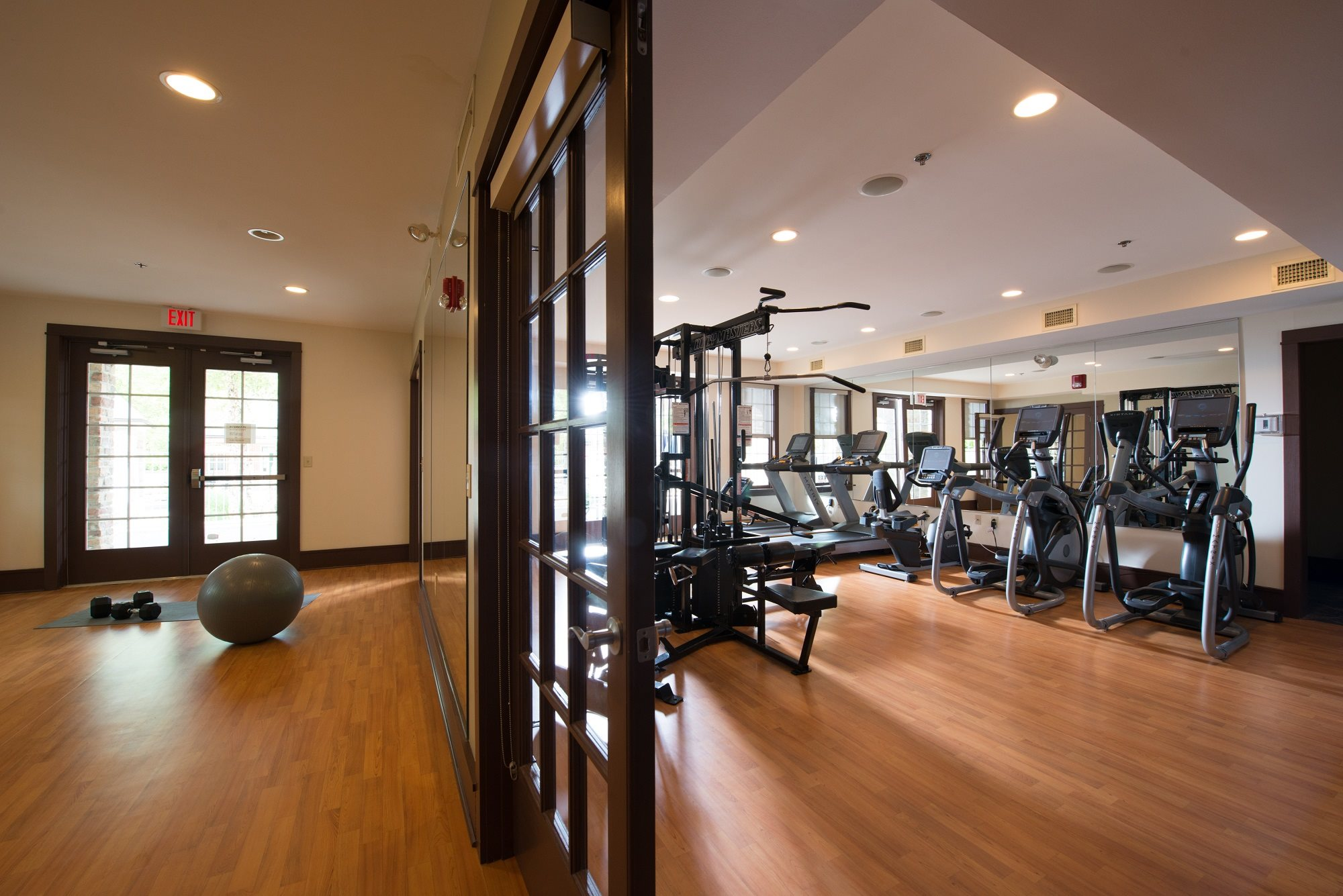 Fitness center and yoga room at Claremont