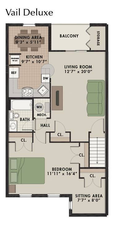 New Kent Vail Deluxe floor plan with one bedroom one bathroom and balcony