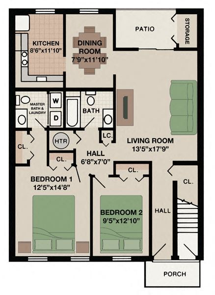 Tahoe floor plan at New Kent apartments with two bedroom two bathroom and porch