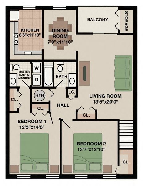 Two bedroom one and a half bathroom West Chester, Pa apartment floor plan