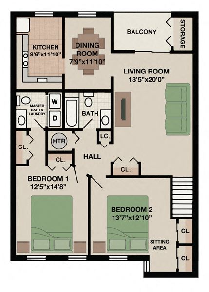 Keystone floor plan with two bedrooms and two bathroom and balcony in West Chester, PA apartment