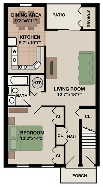 Berkshire floor plan at New Kent apartments with one bedroom one bathroom and porch