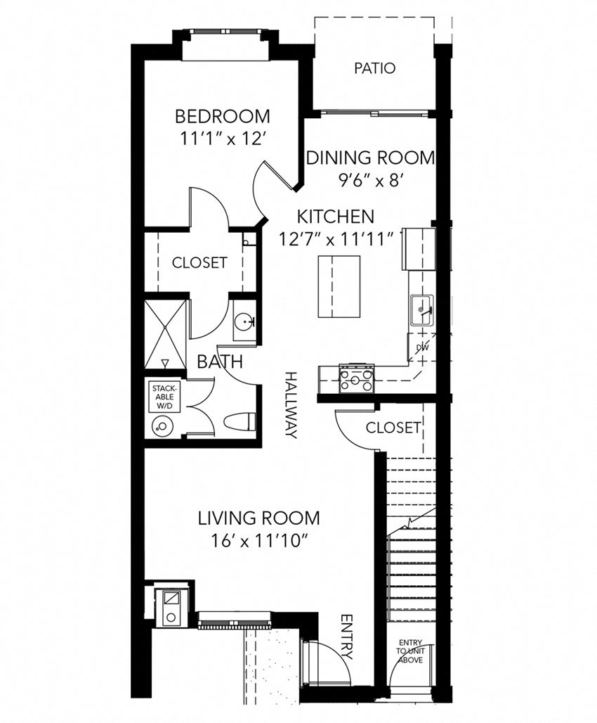 One bedroom one bathroom Alta floor plan with patio at New Kent apartments