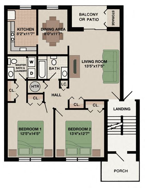 Alpine two bedroom one and a half bathroom apartment floor plan in West Chester, PA