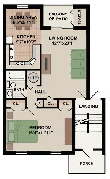Aspen one bedroom one bathroom apartment with porch at New Kent apartments