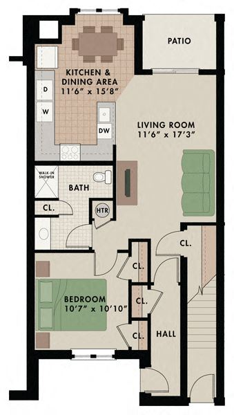 Breckenridge apartment floor plan at New Kent apartments with one bedroom one bathroom