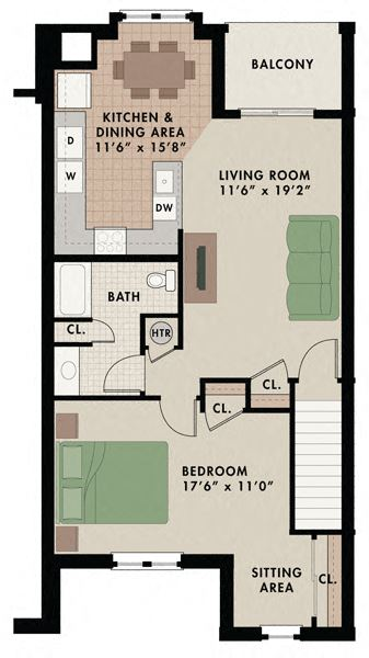 One bedroom one bathroom Breckenridge apartment floor plan in West Chester, PA with balcony