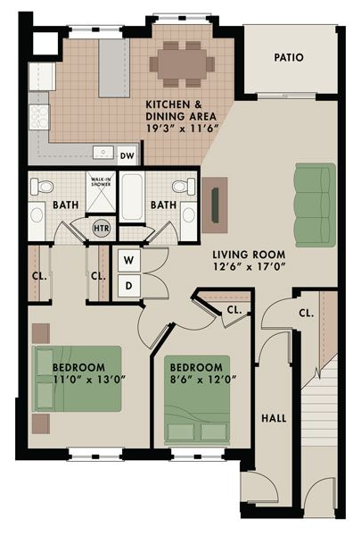 Killingston floor plan at apartments in West Chester with two bedrooms two bathrooms and patio