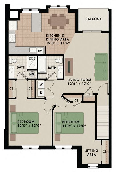 Two bedroom two bathroom Killingston apartment floor plan at New Kent