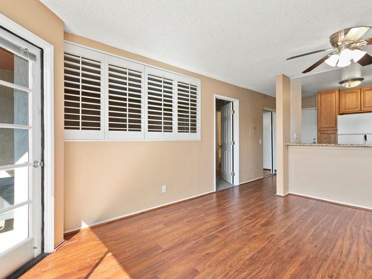 Apartments in North Hollywood, CA - Woodland Trio shutter window hardwood floor