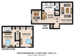 2 Bedroom 1.5 Bath Den