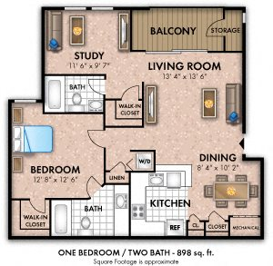 1 Bedroom w/ den  2 Bath