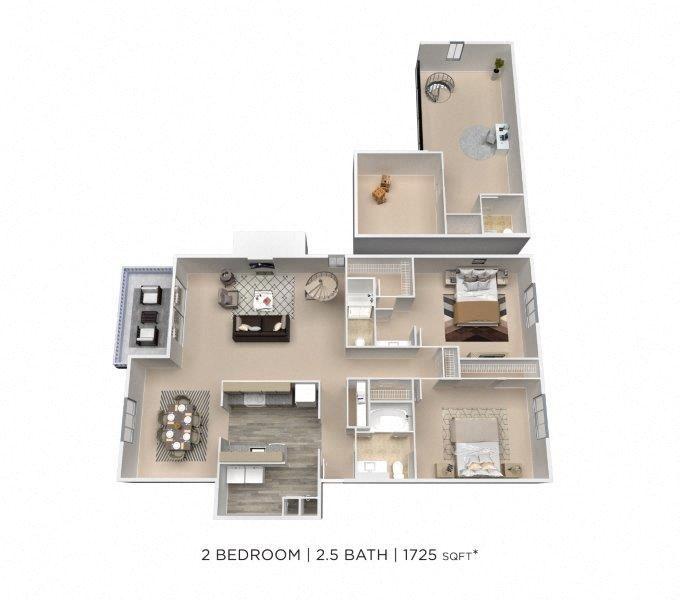 2 Bedroom 2.5 Bath