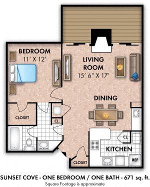 One Bedroom 1 Bath- Small