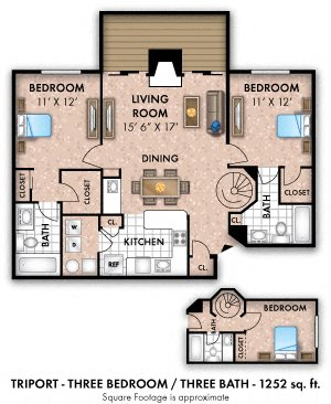 Three Bedroom 3 Bath