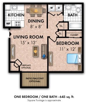 One Bedroom 1 Bath Small