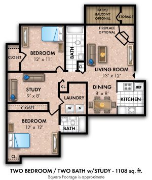 Two Bedroom w/ Den