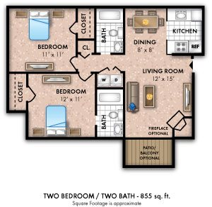 Two Bedroom 2 Bath