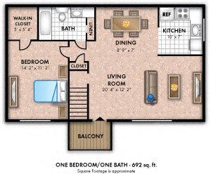 One Bedroom 1 Bath Large
