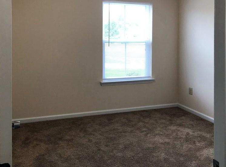 spacious bedroom with plush carpeting