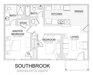 Southbrook Apartment Homes Forestdale Birmingham AL Floor Plan 35214