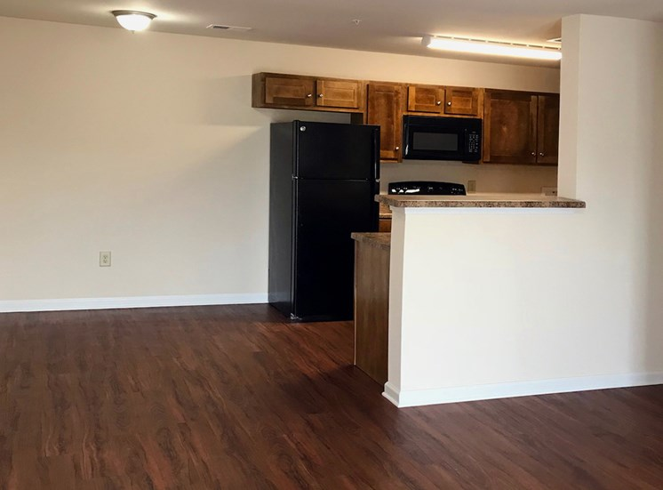hardwood-inspired flooring in kitchen and living room