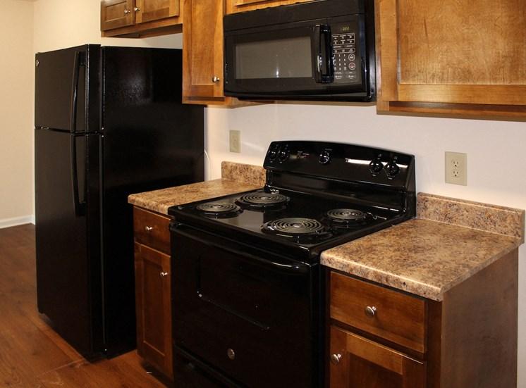 kitchen with efficient black appliances