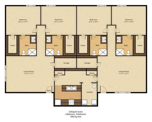 4/2 Flex with Cathedral Ceilings - SOLD OUT !! Floor Plan 4