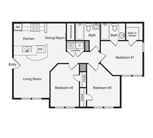 Three Bedroom Apartment Home