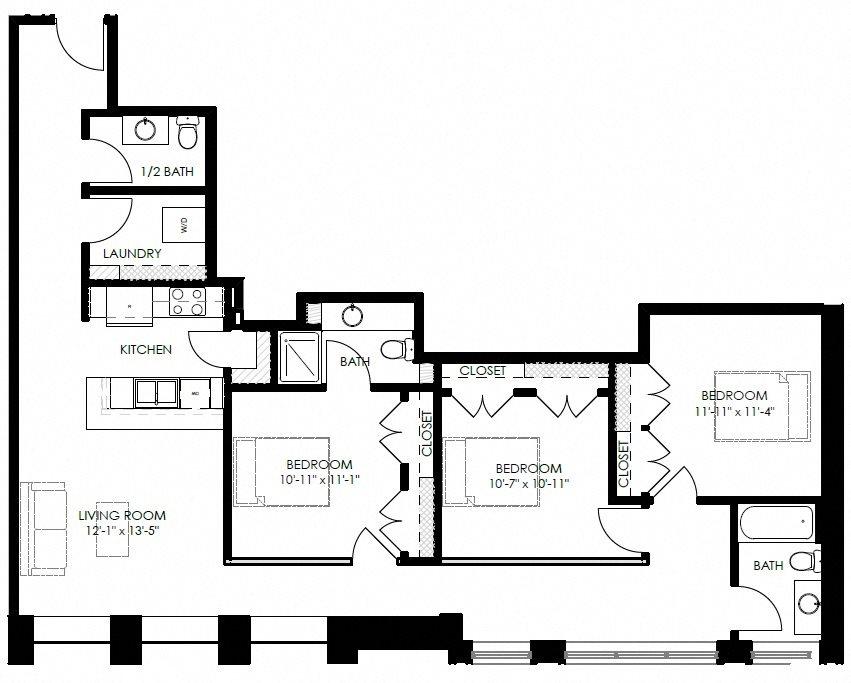 3 Bedroom 2.5 Bath Floor Plan 6